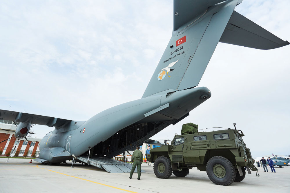 Arlan Armored Vehicle Loaded into TurAF A400M