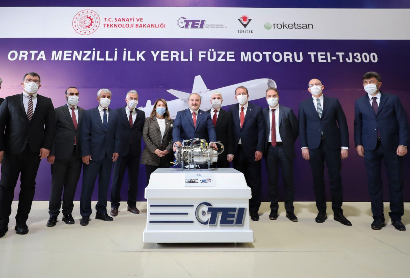 Türkiye'nin Orta Menzilli İlk Gemisavar Füze Motoru TEI-TJ300 test edildi.