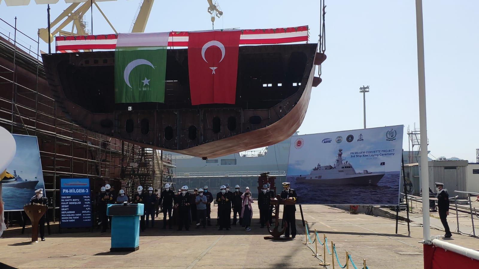Pakistan Donanması için Tedarik Edilecek İkinci PN-MILGEM -JİNNAH Sınıfı Korvetin Kızağa Konma Töreni İstanbul`da Gerçekleştirildi